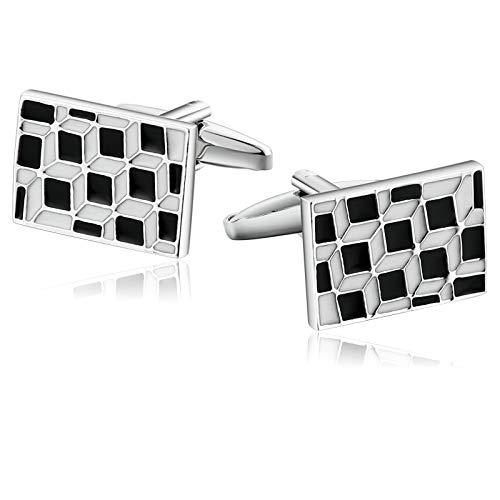 Aooaz Jewelry Men Cufflinks Oil Dripping Grid Pattern Rectangle Cufflinks Silver Black