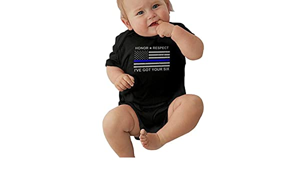 Honor Respect Ive Got Your Six Thin Blue Line Flag Funny Summer Infant Baby Boy Girl Short Sleeve Romper Jumpsuit Shirt