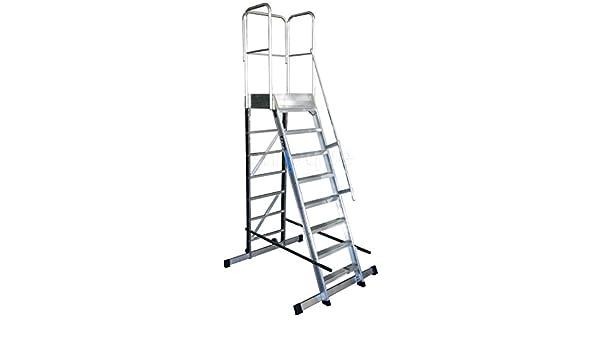 KTL Escalera Profesional de Aluminio un Acceso con Plataforma de Trabajo 8 peldaños 60x60 Serie Store 68º almacén: Amazon.es: Hogar