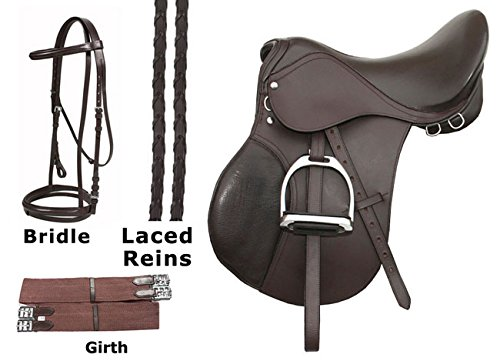 - 15 16 17 18 ENGLISH SADDLE PACKAGE BROWN LEATHER ALL PURPOSE CLOSE CONTACT HORSE JUMPING PLEASURE TRAIL HORSE SADDLE TACK PACKAGE (17)