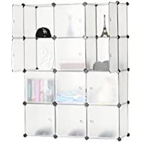 BASTUO 12-Cube Storage DIY Modular Cube Organizer Cabinet 4-Tier Bookcase Storage Cube Organizer Closet with Door