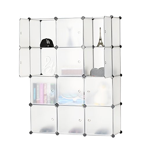 Cabinet Modular Drawer Storage (BASTUO 12-Cube Storage DIY Modular Cube Organizer Cabinet 4-Tier Bookcase Storage Cube Organizer Closet with Door)