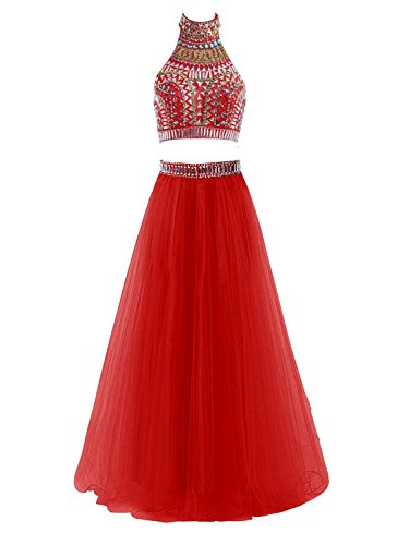 Lisa High Neck Two Pieces Halter Long Prom Dress With Rhinestone Gown (2 Piece Best Maid Dress)