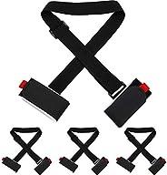 4 Packs Thick and Strong Ski Straps Black Ski Carrier Strap Adjustable Shoulder Carrier Lash Handle Straps wit