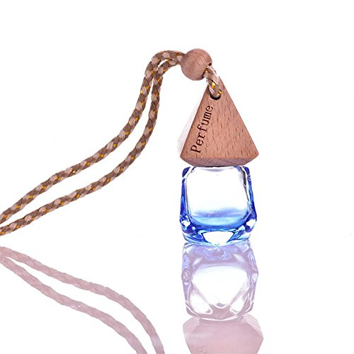 Ownsig Diamond Shape Glass Air Freshener Container Bottle with Hanging Rope Fragrance Diffuser Car Home Decorative Accessories Sapphire Blue (Hanging Sapphire)