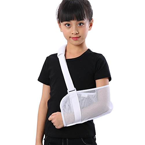 (Medical Breathable Mesh Arm Sling(11.811 in) Shoulder Support Belt with Adjustable Strap, Injured Forearm Supporter Cuff Wrist Elbow Brace Immobilizer Fracture Protector for Children Kids, White)