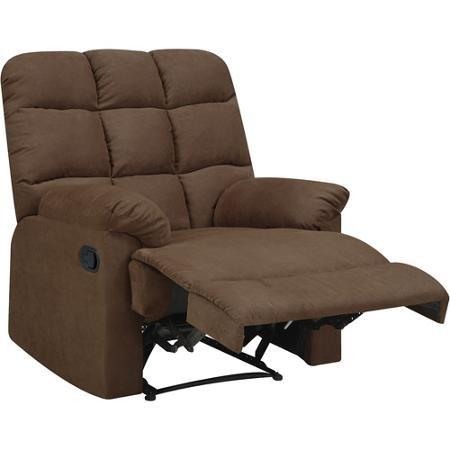 ProLounger Wall Hugger Microfiber Biscuit Back Recliner Chair, Dark Brown - Set of 2