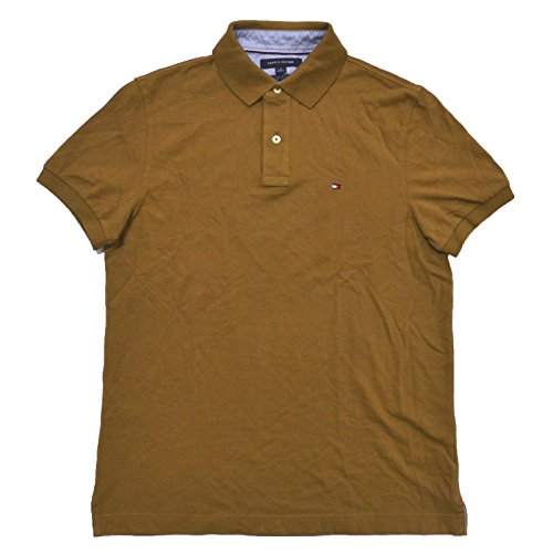 Tommy Hilfiger Mens Custom Fit Mesh Polo Shirt (X-Large, Antique Brown)