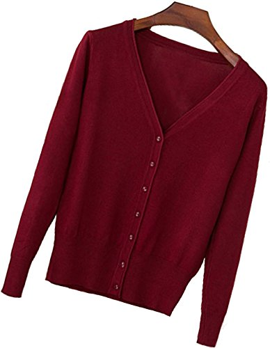 Button Up V-neck Cardigan (S.S Womens V-Neck Button Down Long Sleeve Crew Neck Soft Classic Basic Knit Cardigan Sweater (S-3X) (Large, Wine Red))