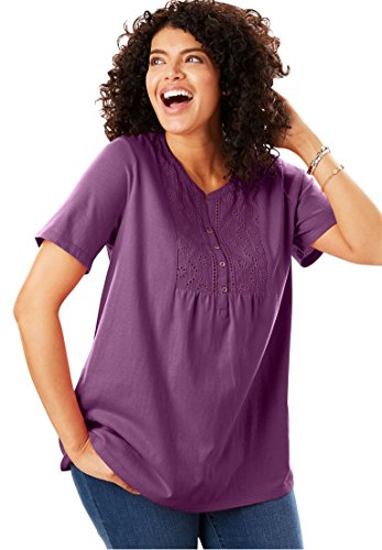 Womens Plus Size Top In Soft Knit With Eyelet Embroidery Plum Purple 1X