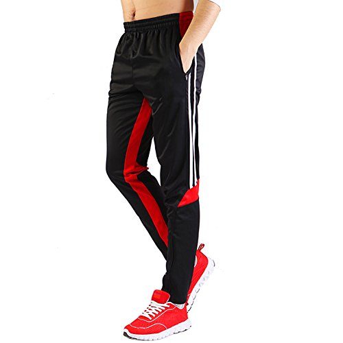 SHINESTONE Men's Skinny Sportswear Soccer Training Pants Fitness Pants Casual Pants (Medium, Back red) by SHINESTONE