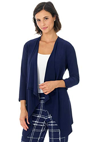 Rekucci Travel in Style - Women's Essential Fluid Throw Over Jacket (Large,Navy)