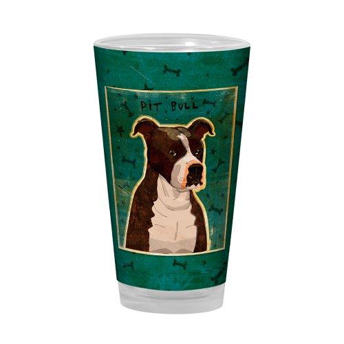 Pit Bull Beer (Tree-Free Greetings PG03016 John W. Golden Artful Alehouse Pint Glass, 16-Ounce, Brindle Pit Bull)