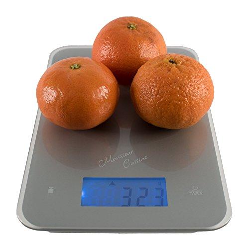 Monsieur Cuisine - Báscula digital de cocina, medición hasta 5 kg, precisión de un 1 g, pantalla táctil, con pilas, plateada: Amazon.es