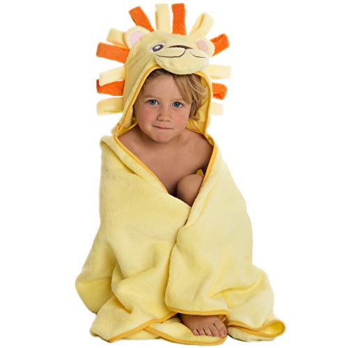 100/% Cotton Bath Towel with Hood for Girls and Boys by Little Tinkers World Ultra Soft and Extra Large Premium Hooded Towel for Kids Lion Design