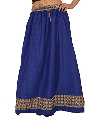 (SNS Pure Cotton Jacquard Solid Long Maxi Skirt with Printed Border)