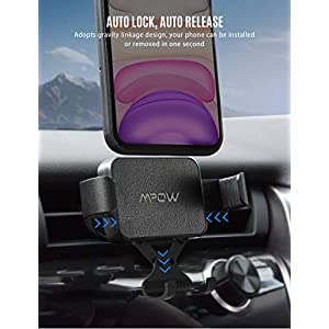 Mpow Gravity Auto-Clamping Car Mount, Hands-Free Car Phone Holder, One-Hand Operation, Auto-Lock, Auto-Release for iPhone 11Pro Max/11Pro/11/XS Max/XS/Xr/X/8S/8/7/6, Galaxy S20/S10/S9/S8, Huawei, etc