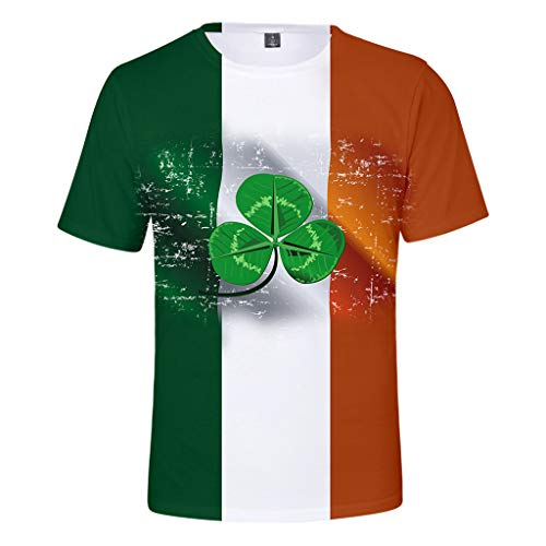 Men's T-Shirts Graphic Funny,Men Women's St. Patrick's Day Green Printing Short Sleeved O-Necked T-Shirt Tops,Green,4XL