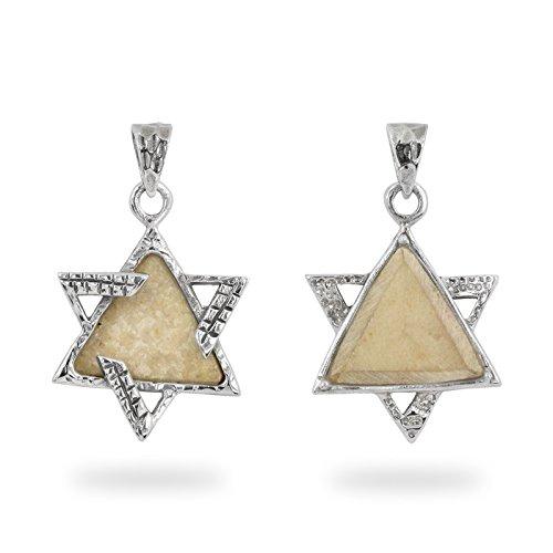 NP11627 Judaica Necklace Star of David Silver 925 Pendant Art on Jerusalem Stone Plate Israeli Jewish Jewelry ()