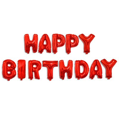 Happy Birthday Balloons Banner, 16'' Aluminum Foil Letter Banner Balloons for Birthday Party Decorations and Supplies (Red) ()