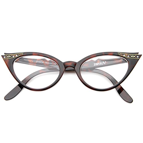 zeroUV - Vintage Cateyes 80s Inspired Fashion Clear Lens Cat Eye Glasses with Rhinestones - Optic Eyeglasses