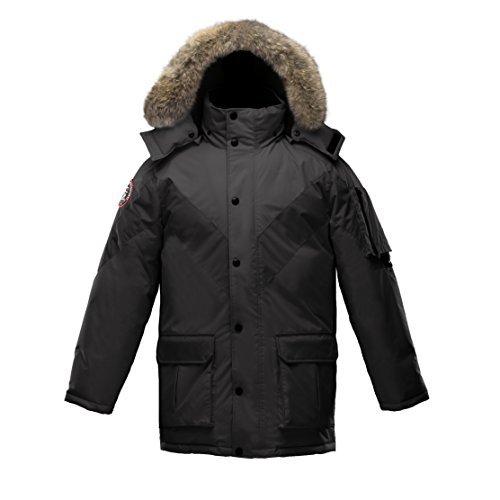 Triple F.A.T. Goose Hesselberg Mens Goose Down Jacket with Real Coyote Fur (Large, Black) Detachable Fur Trim Hood Jacket