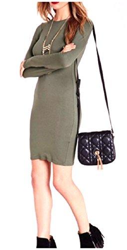 Confortables Femmes De Base Automne Couleur Pure Hiver Courte Robe Bandage Moulante Vert