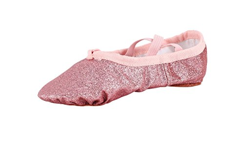 [MSMAX Classic Ballet Shoe Soft Shinning Dance Flat,Pink,Toddler 9.5M US] (Ballet Shoes Costume)