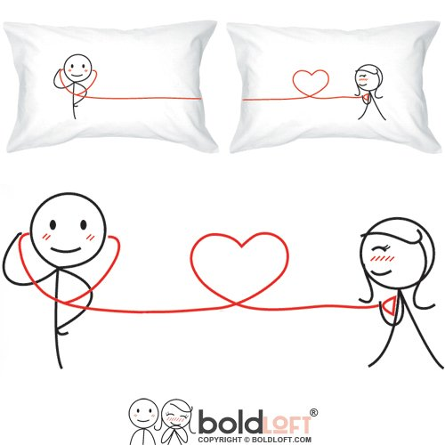 BOLDLOFT My Heart Beats for You Couples Pillowcases- Gifts for Couples,Valentines Day Gifts for Him,Boyfriend,Husband,Couples Gifts for Him and Her,His and Hers Gifts,Anniversary Gifts for Him