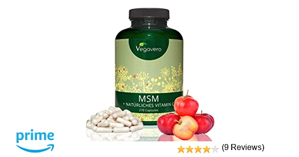 MSM 2100mg + Vitamina C Natural 25,5mg | 99,9% Puro y Sin Aditivos | MAYOR ABSORCIÓN | Articulaciones y Dolor Muscular + Desintoxicante + Piel | 270 ...