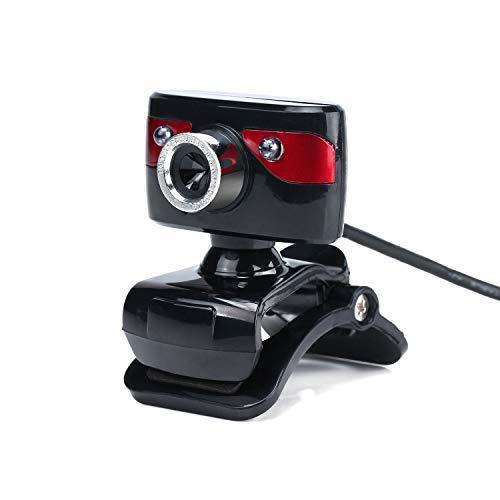 POLPqeD Webcam HD USB 2.0 12M Pixels 360 ° Ajustable con Microfono Integrado Camara Web para Skype Escritorio PC Portatil Juegos Videoconferencias (Rojo)