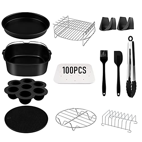 Air Fryer Accessories 5.8QT Square, Set of 12 Power Air Fryer Accessories XL Fit for COSORI Ninjia Gowise USA Philips 5.3QT 5.5QT 5.8QT Square Deep Air Fryer BPA Free Dishwasher Safe Nonstick Coating
