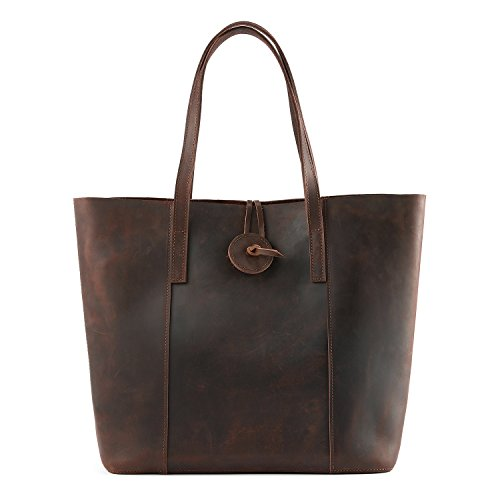 Kattee Women's Vintage Cow Leather Tote Shopper Shoulder Bag Coffee -
