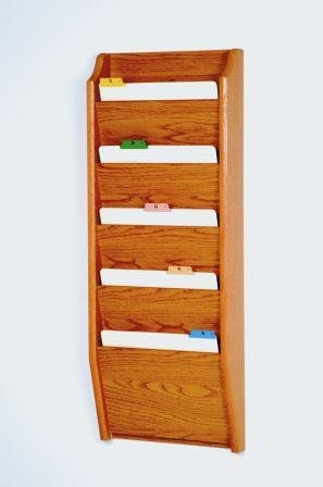 Wooden Mallet CH14-5 Medium Oak Five Pocket Wall Mounted File/Chart Holder