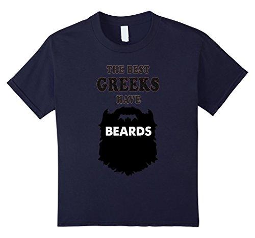 Greece Costume For Boys (Kids bearded Greek Gift tshirt, Greece Costume beards tees shirt 12 Navy)