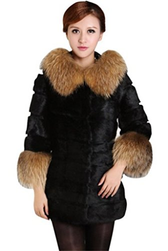 YR Lover Women's Natural Rabbit Fur Coat With Super Racco...