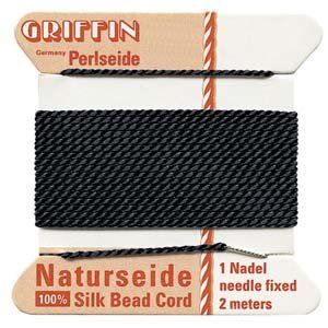 Silk Cord (Griffin 1.05 mm Thick Silk Cord Black - Size 16)