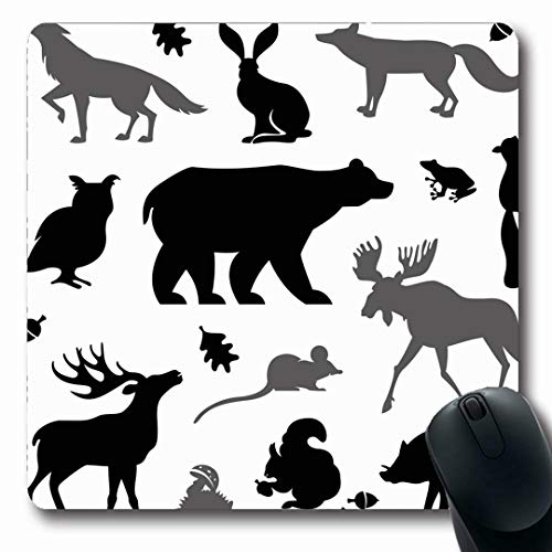 Ahawoso Mousepads Bird Brown Moose Living European Forest Elk Owl Squirrel Bear Shape Wild Clip Oblong Shape 7.9 x 9.5 Inches Non-Slip Gaming Mouse Pad Rubber Oblong Mat
