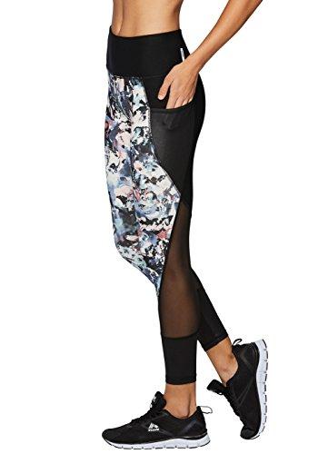 RBX Active Women's Printed Mesh Workout Leggings Black XL