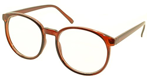 (FancyG Retro Vintage Inspired Classic Nerd Round Clear Lens Glasses Eyewear - Brown)