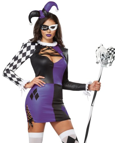 California Costumes Women's Naughty Jester Sexy Mardi Gras Carnival Costume, Purple/Black, X-Large