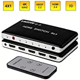 KEEGH 4K 60HZ HDMI Switch 4-Port 4x1 HDMI Splitter 4 in 1 Out HDMI Switcher Box with IR Wireless Remote Support HDCP 2.2 HDR, Full HD/3D