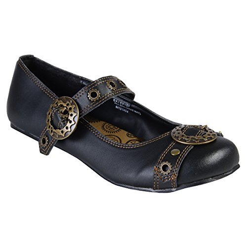 (Summitfashions Black Mary Jane Ballet Flats Steampunk Gothic Style Buckles Size: 6)