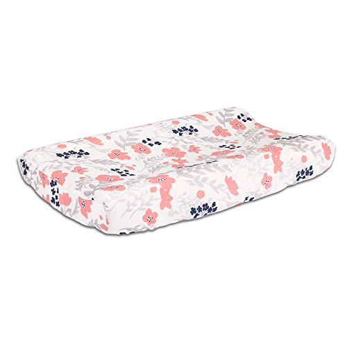 Coral Flower Natural Pink (Floral Changing Pad Cover in Coral Pink and Navy Blue by The Peanut Shell)