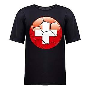 Custom Mens Cotton Short Sleeve Round Neck T-shirt,2014 Brazil FIFA World Cup swizterland_footbal black