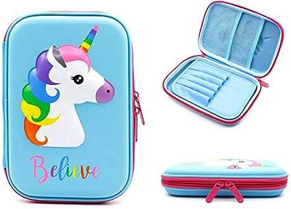 Estuche escolar con diseño de unicornio, para niñas, para lápices, bolígrafos, estuche de papelería, estuche rígido, con cremallera (sin lápiz capacitivo), color azul: Amazon.es: Oficina y papelería
