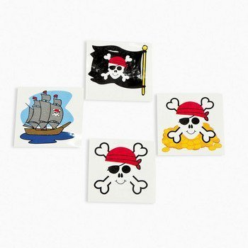 Pirate Tattoos 72 Per Package, Assorted -
