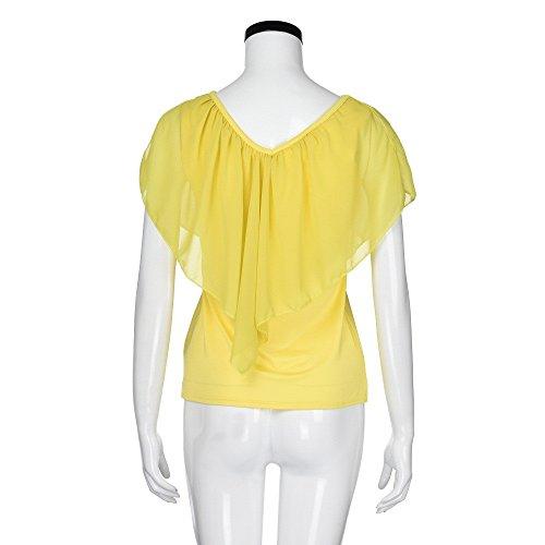 Femme Mousseline Sexy Covermason Blouse Tops Epaules Chemisiers Manches Jaune Chemisiers Courtes Shirts en Irrgulires T Chemisier dnudes 6wx4qRp