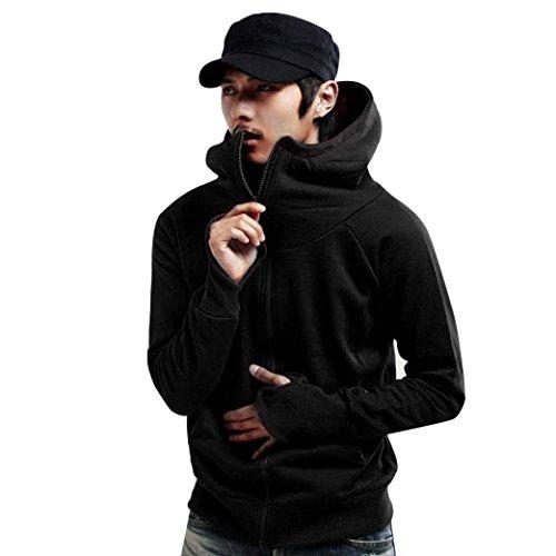 DaySeventh Mens Casual Hoodie Hooded Coat Jacket Slim Outwear Sweater (US XL, Black)