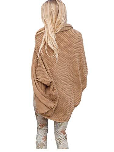 Casual Di Outerwear Outwear Donna Monocromo Hot Lunga Cappotto Giacca Marca Mode Maglia Elegante Manica Baggy Camicetta Khaki Bolawoo Autunno A 5ARjL4